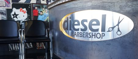 Interior shot of Diesel Barbershop's front desk.