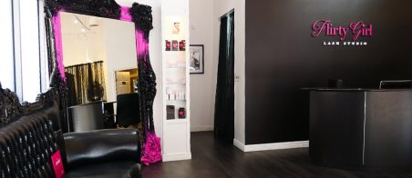 The front desk area of a Flirty Girl Lash Studio.